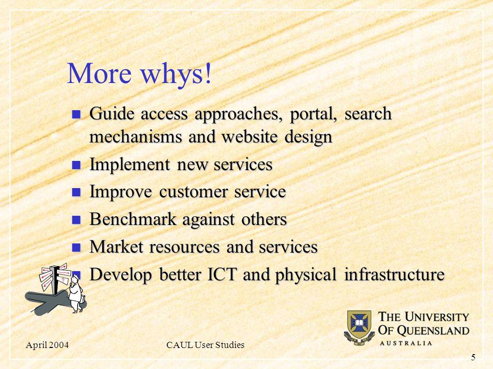 April 2004CAUL User Studies 5 More whys.