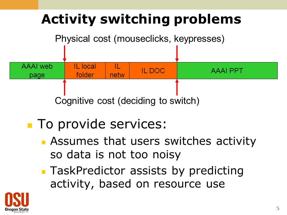 5 Activity switching problems To provide services: Assumes that users switches activity so data is not too noisy TaskPredictor assists by predicting a