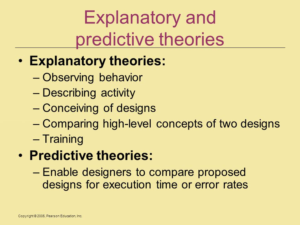 Copyright © 2005, Pearson Education, Inc. Explanatory and predictive theories Explanatory theories: –Observing behavior –Describing activity –Conceivi