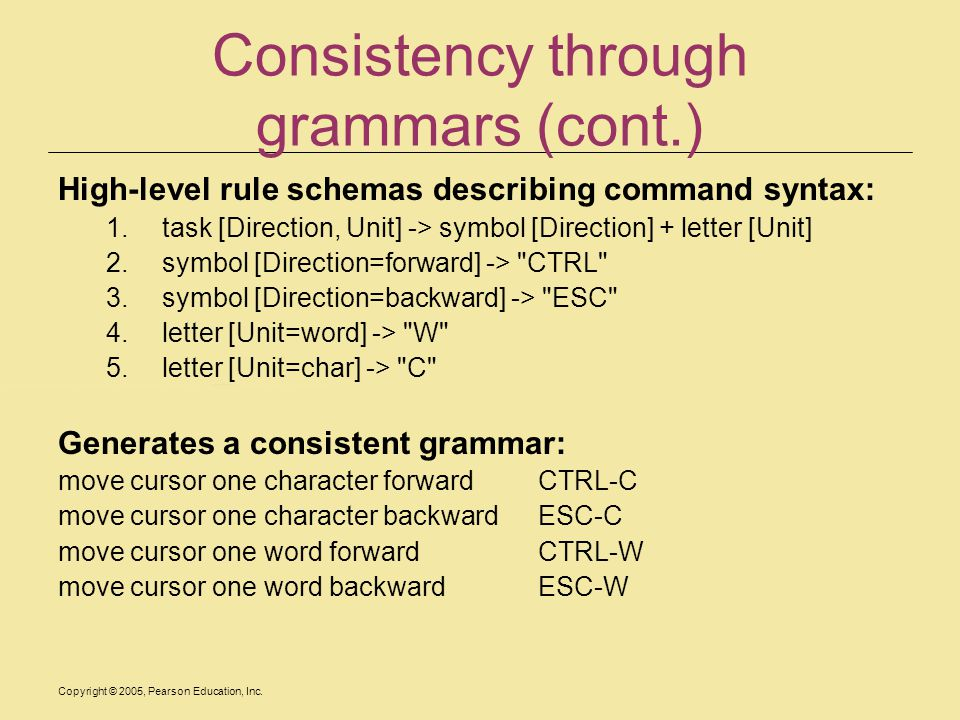 Copyright © 2005, Pearson Education, Inc. Consistency through grammars (cont.) High-level rule schemas describing command syntax: 1.task [Direction, U