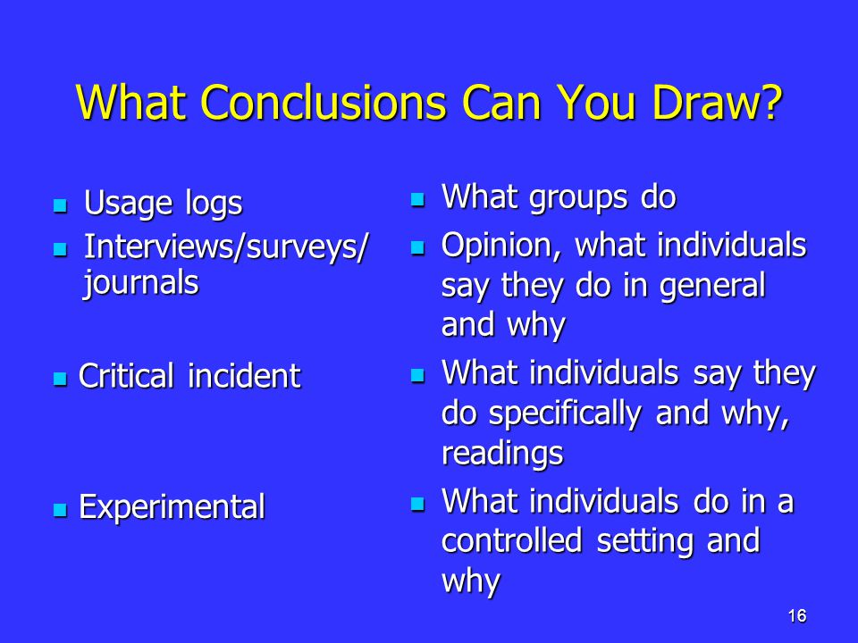16 What Conclusions Can You Draw.