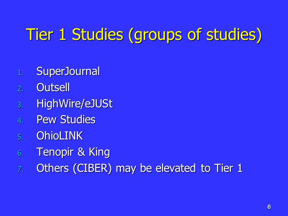 6 Tier 1 Studies (groups of studies) 1. SuperJournal 2.