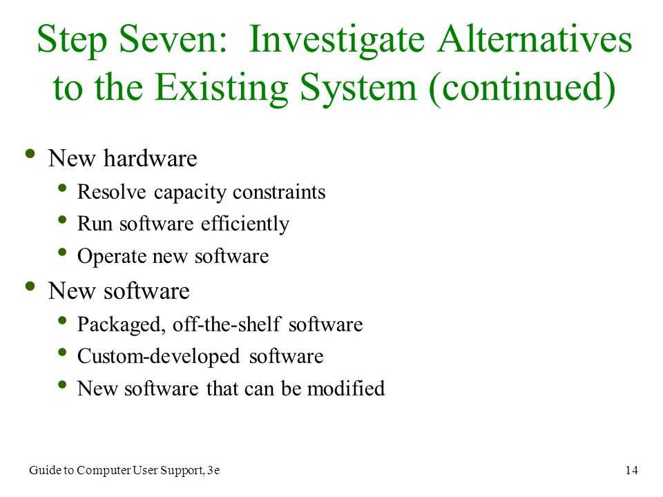 Guide to Computer User Support, 3e 14 New hardware Resolve capacity constraints Run software efficiently Operate new software New software Packaged, o
