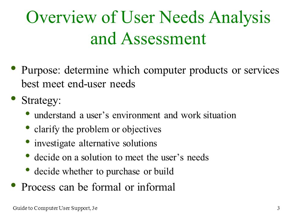 Guide to Computer User Support, 3e 3 Purpose: determine which computer products or services best meet end-user needs Strategy: understand a user's env