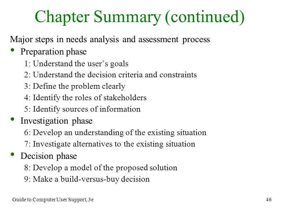 Guide to Computer User Support, 3e 46 Chapter Summary (continued) Major steps in needs analysis and assessment process Preparation phase 1:Understand