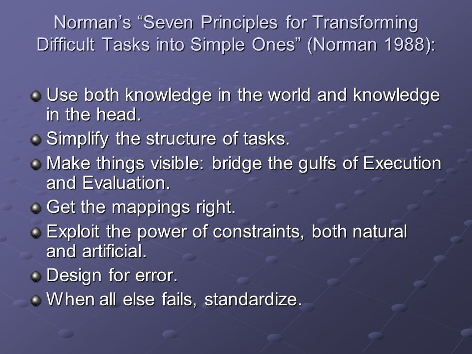 "Norman's ""Seven Principles for Transforming Difficult Tasks into Simple Ones"" (Norman 1988): Use both knowledge in the world and knowledge in the head"