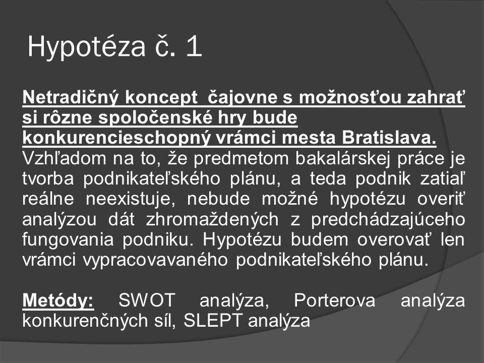 Hypotéza č. 1 Netradičný koncept čajovne s možnosťou zahrať si rôzne spoločenské hry bude konkurencieschopný vrámci mesta Bratislava. Vzhľadom na to,