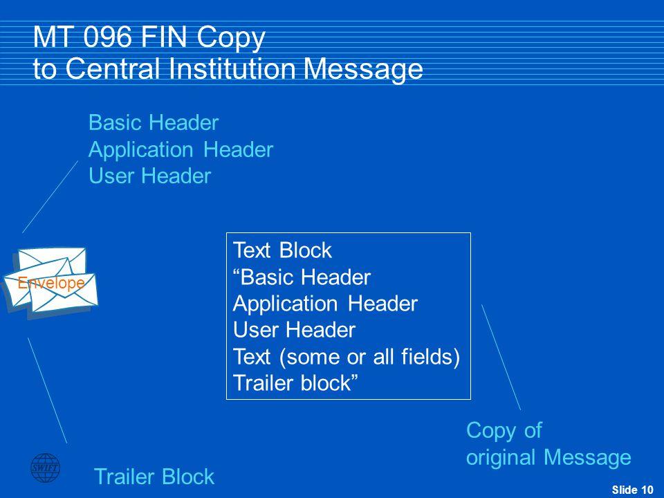 """Slide 10 MT 096 FIN Copy to Central Institution Message Basic Header Application Header User Header Trailer Block Envelope Text Block """"Basic Header Ap"""