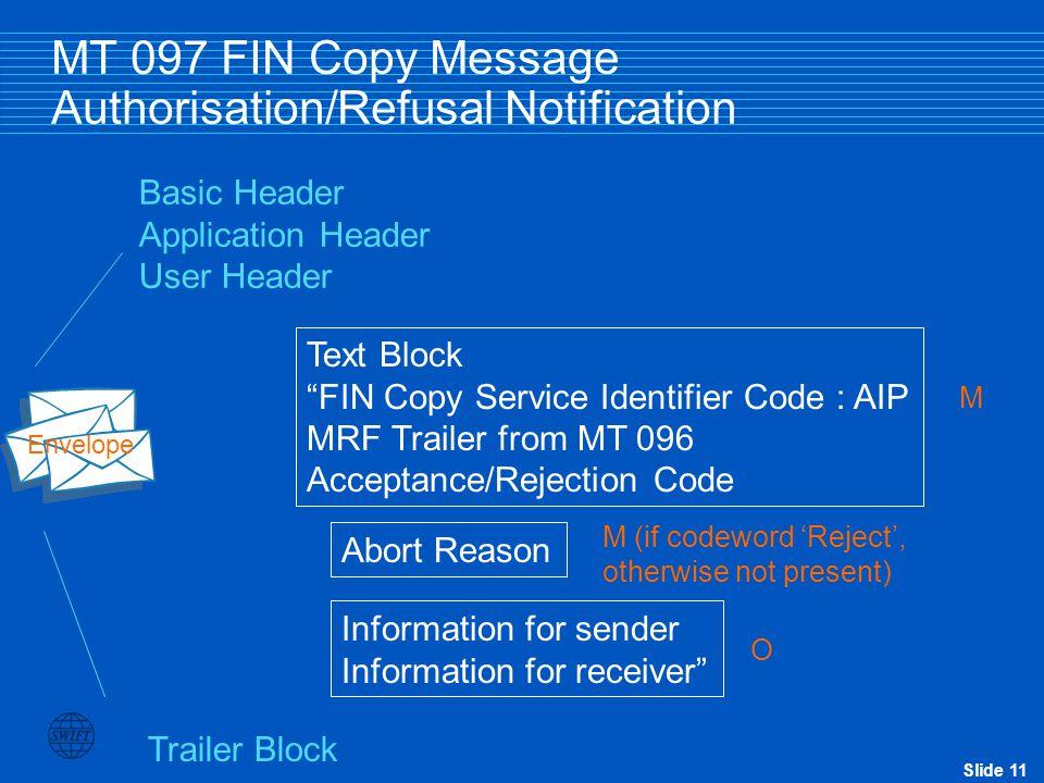 "Slide 11 MT 097 FIN Copy Message Authorisation/Refusal Notification Basic Header Application Header User Header Trailer Block Envelope Text Block ""FIN"