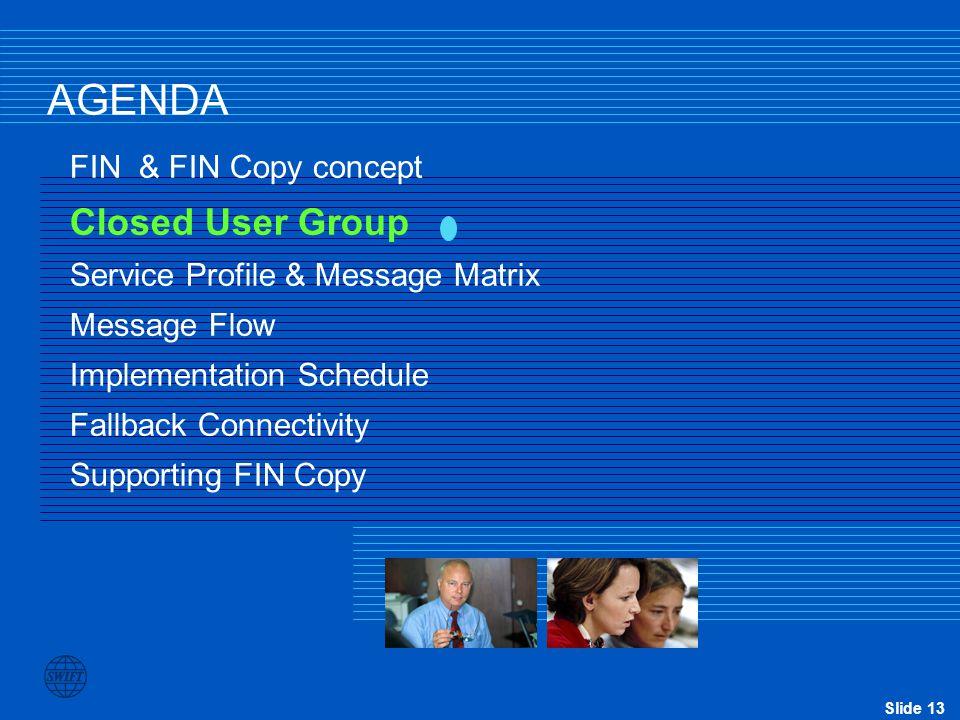 Slide 13 AGENDA FIN & FIN Copy concept Closed User Group Service Profile & Message Matrix Message Flow Implementation Schedule Fallback Connectivity S
