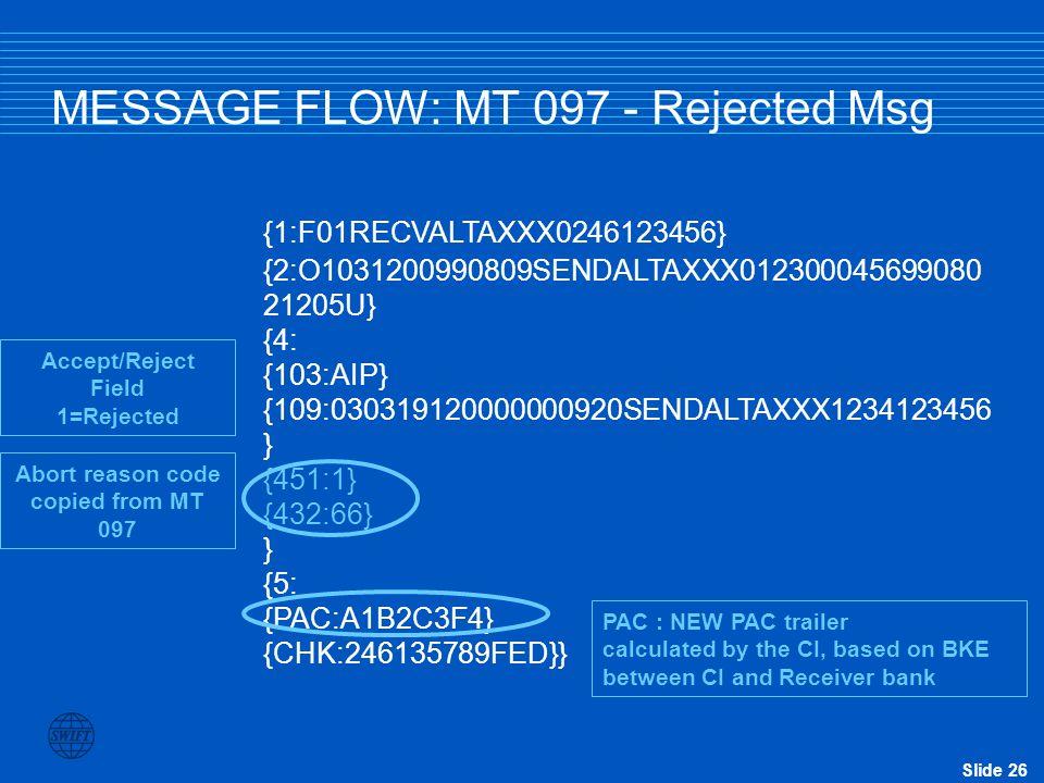 Slide 26 MESSAGE FLOW: MT 097 - Rejected Msg {1:F01RECVALTAXXX0246123456} {2:O1031200990809SENDALTAXXX012300045699080 21205U} {4: {103:AIP} {109:03031