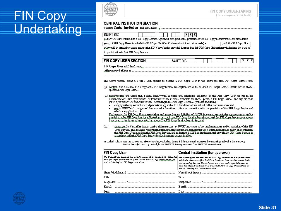 Slide 31 FIN Copy Undertaking