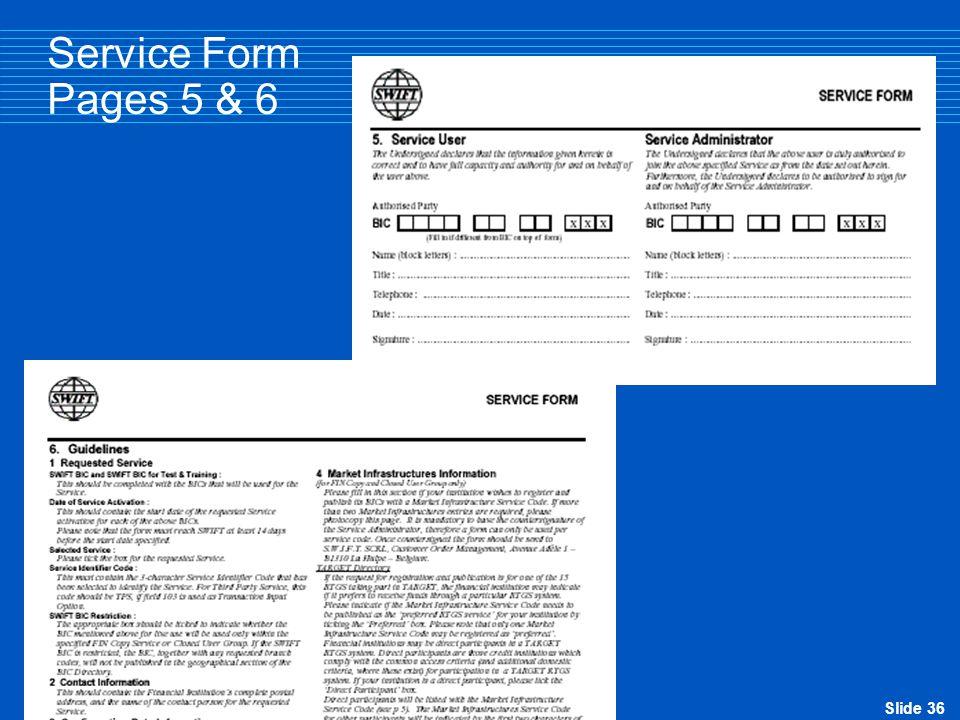Slide 36 Service Form Pages 5 & 6