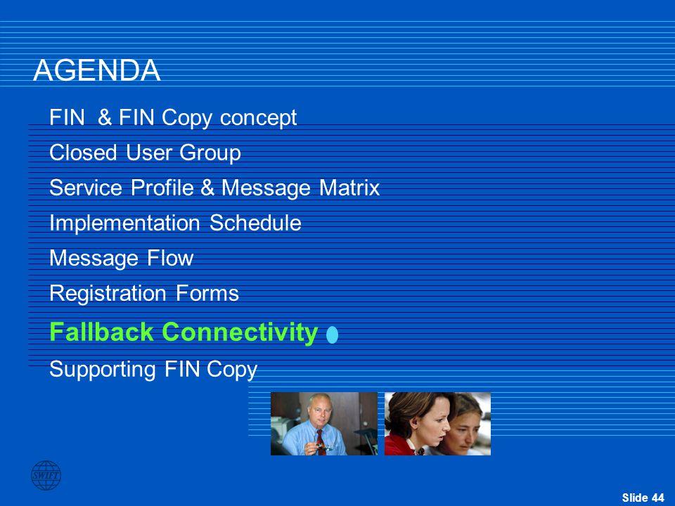 Slide 44 AGENDA FIN & FIN Copy concept Closed User Group Service Profile & Message Matrix Implementation Schedule Message Flow Registration Forms Fall