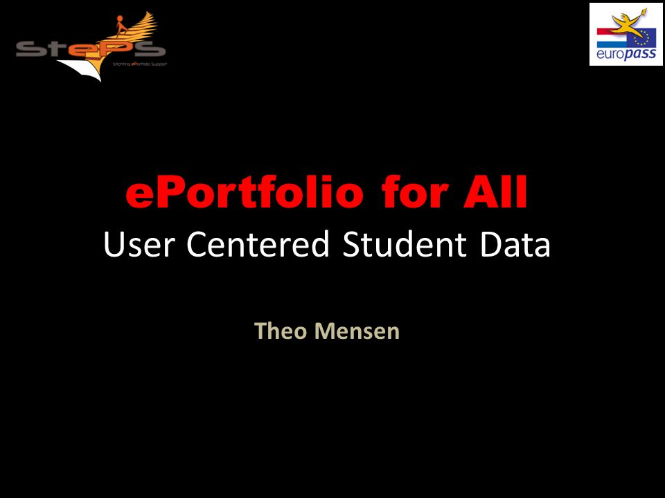 ePortfolio for All User Centered Student Data Theo Mensen