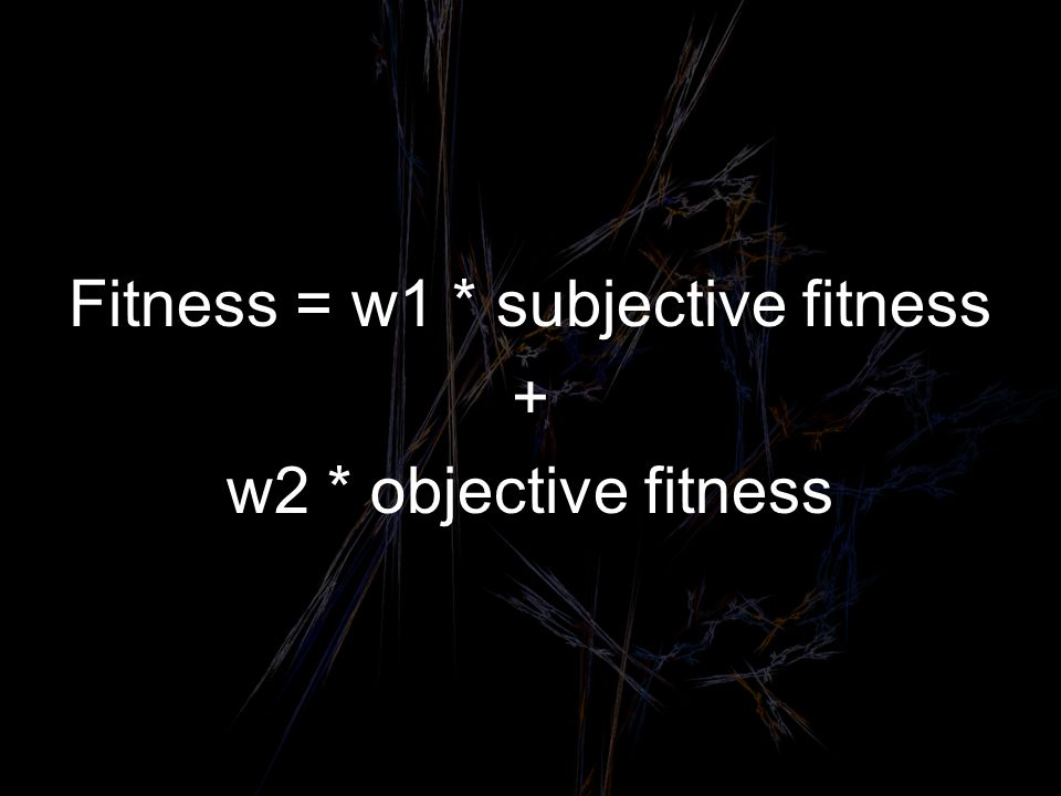 Fitness = w1 * subjective fitness + w2 * objective fitness