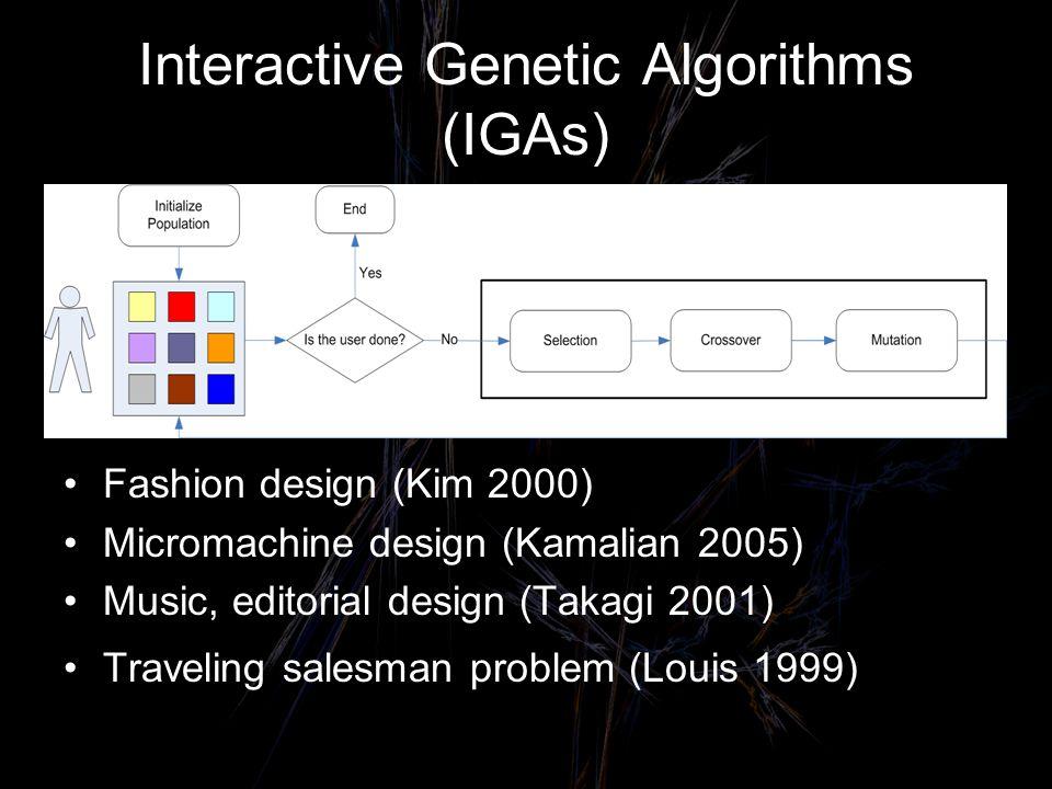 Interactive Genetic Algorithms (IGAs) Fashion design (Kim 2000) Micromachine design (Kamalian 2005) Music, editorial design (Takagi 2001) Traveling salesman problem (Louis 1999)