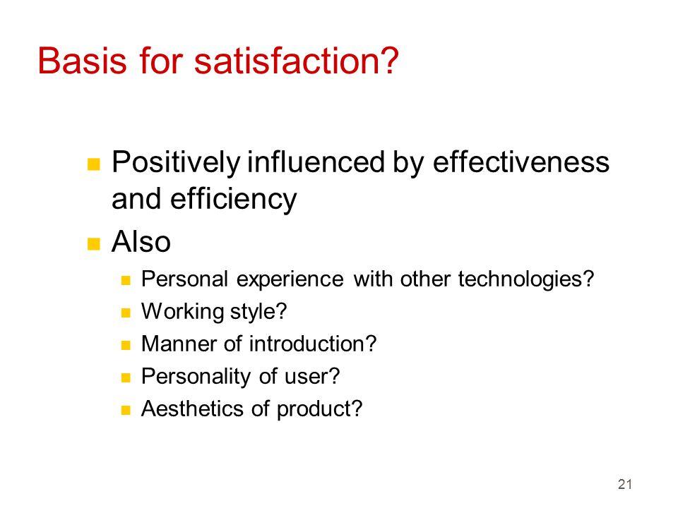 21 Basis for satisfaction.