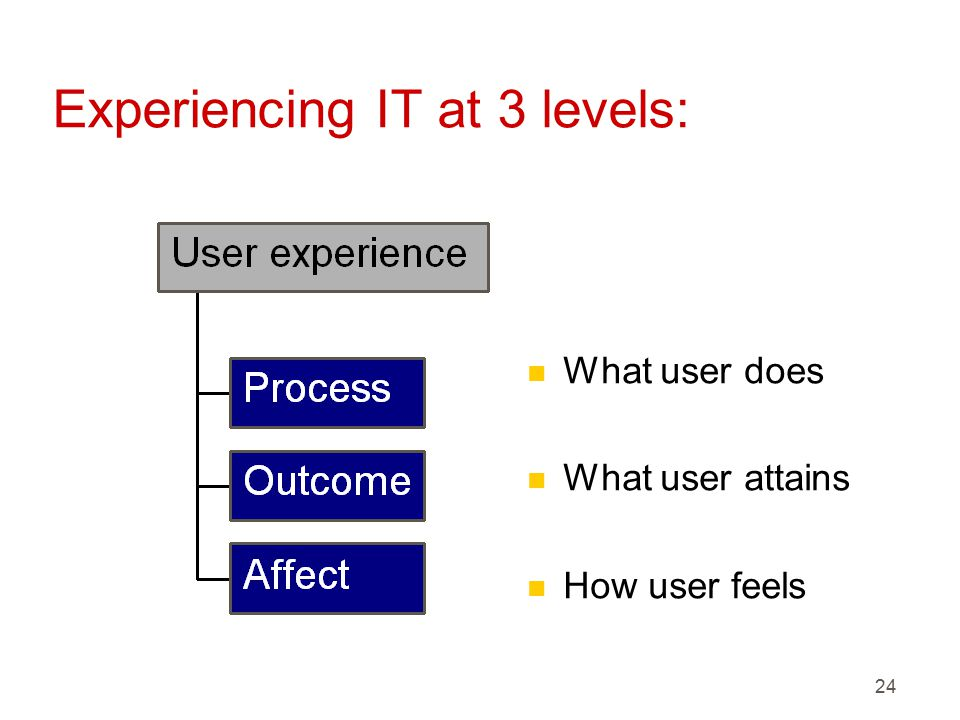 24 Experiencing IT at 3 levels: n What user does n What user attains n How user feels