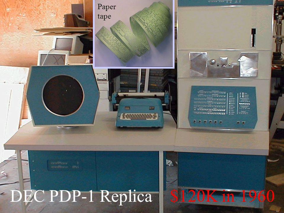6 DEC PDP-1 Replica $120K in 1960 Paper tape