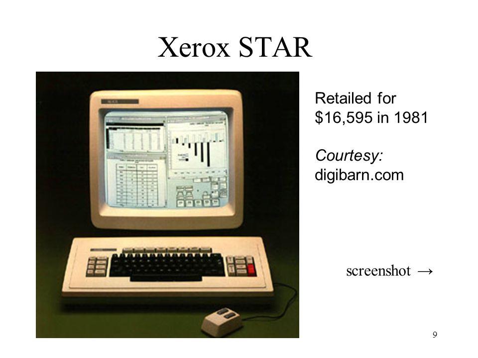 9 Xerox STAR Retailed for $16,595 in 1981 Courtesy: digibarn.com screenshot →