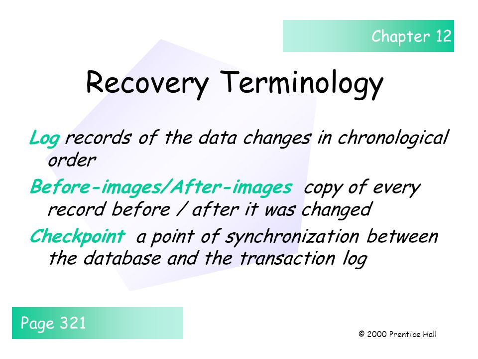 Chapter 12 © 2000 Prentice Hall Recovery Terminology Log records of the data changes in chronological order Before-images/After-images copy of every r