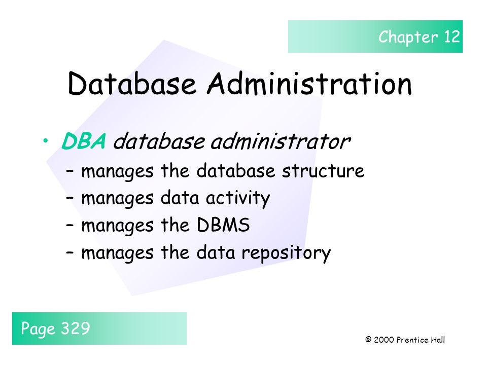 Chapter 12 © 2000 Prentice Hall Database Administration DBA database administrator –manages the database structure –manages data activity –manages the DBMS –manages the data repository Page 329