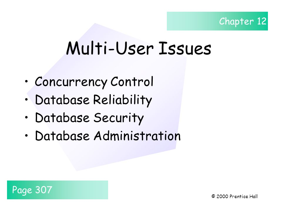 Chapter 12 © 2000 Prentice Hall Multi-User Issues Concurrency Control Database Reliability Database Security Database Administration Page 307