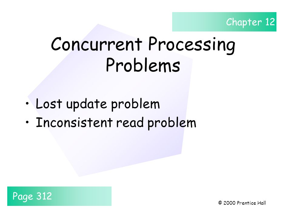 Chapter 12 © 2000 Prentice Hall Concurrent Processing Problems Lost update problem Inconsistent read problem Page 312