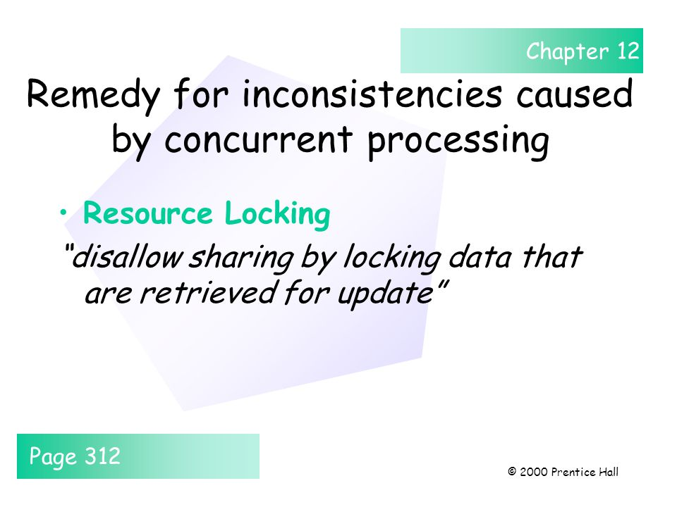 Chapter 12 © 2000 Prentice Hall Remedy for inconsistencies caused by concurrent processing Resource Locking disallow sharing by locking data that are retrieved for update Page 312