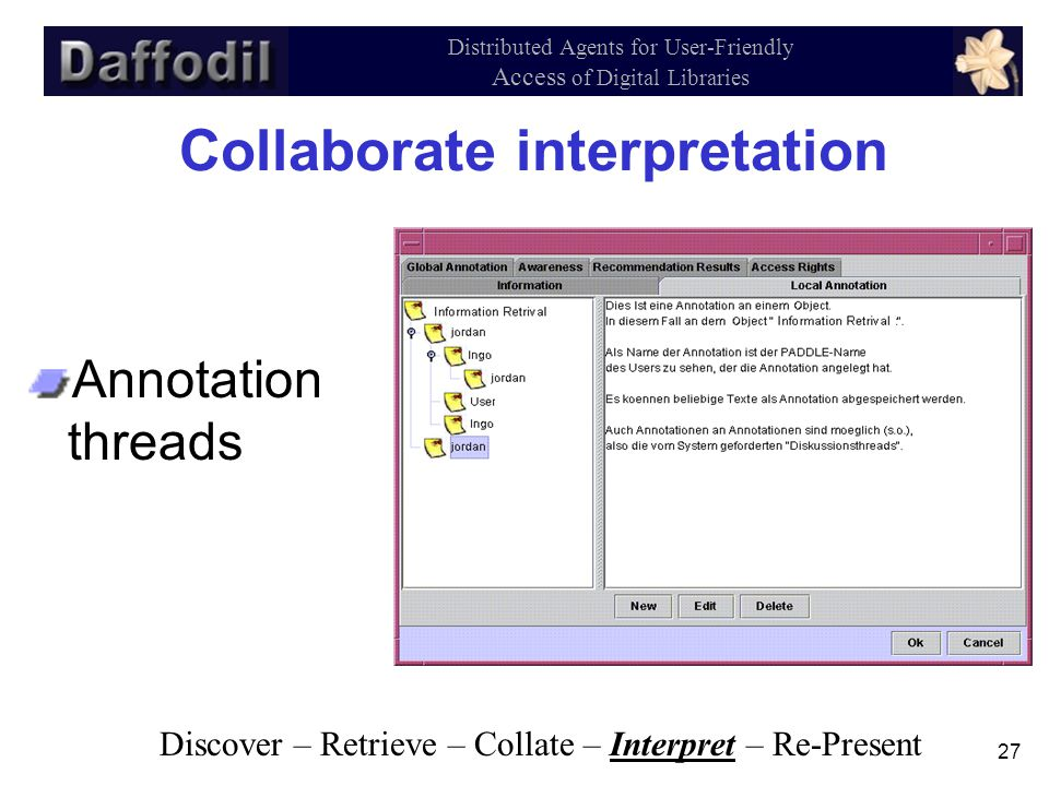 27 Distributed Agents for User-Friendly Access of Digital Libraries Collaborate interpretation Annotation threads Discover – Retrieve – Collate – Interpret – Re-Present