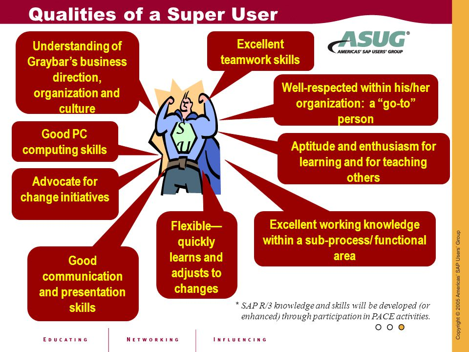 * SAP R/3 knowledge and skills will be developed (or enhanced) through participation in PACE activities. Qualities of a Super User SUSU Understanding