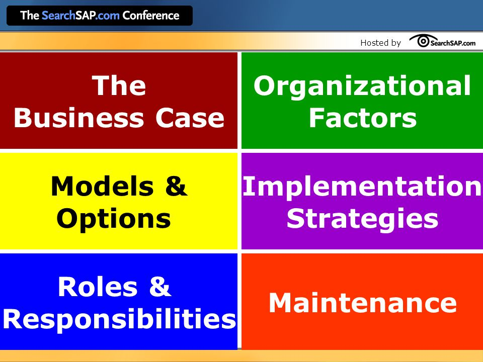 Hosted by Roles & Responsibilities Maintenance Implementation Strategies Models & Options Organizational Factors The Business Case