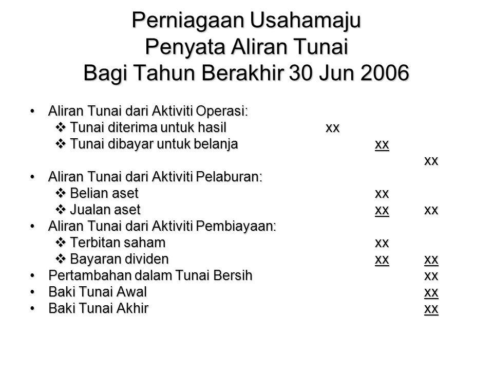 Perniagaan Usahamaju Penyata Aliran Tunai Bagi Tahun Berakhir 30 Jun 2006 Aliran Tunai dari Aktiviti Operasi:Aliran Tunai dari Aktiviti Operasi:  Tun