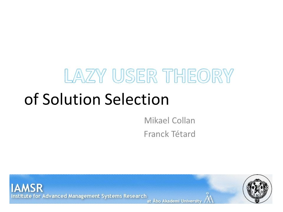 of Solution Selection Mikael Collan Franck Tétard