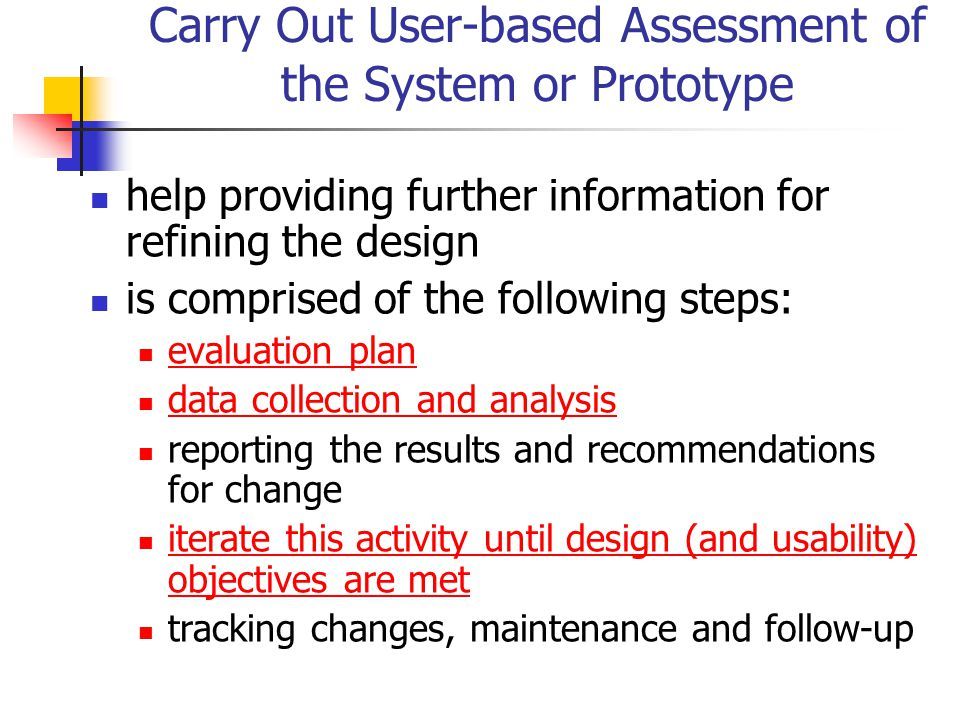 Carry Out User-based Assessment of the System or Prototype help providing further information for refining the design is comprised of the following st