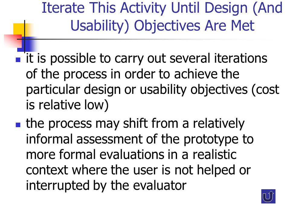 Iterate This Activity Until Design (And Usability) Objectives Are Met it is possible to carry out several iterations of the process in order to achiev