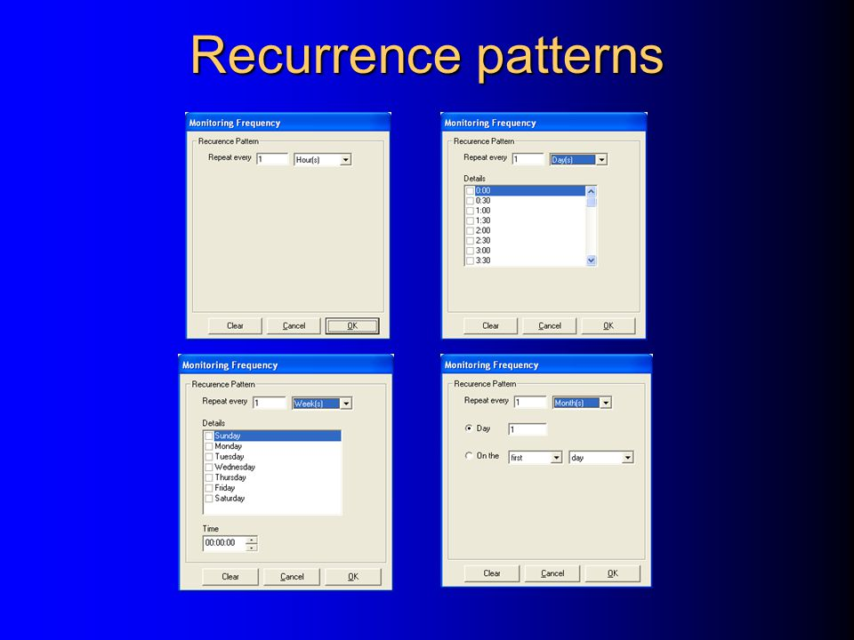 Recurrence patterns