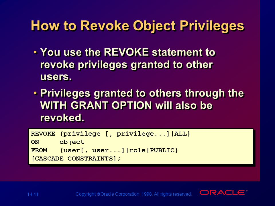 14-11 Copyright  Oracle Corporation, 1998. All rights reserved. How to Revoke Object Privileges You use the REVOKE statement to revoke privileges gra