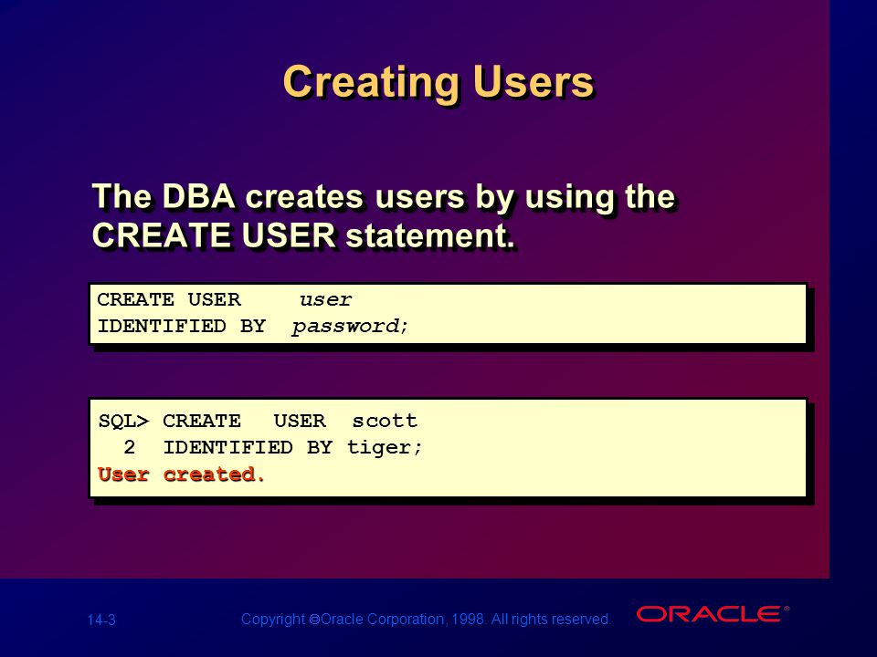 14-3 Copyright  Oracle Corporation, 1998. All rights reserved. Creating Users The DBA creates users by using the CREATE USER statement. SQL> CREATEUS