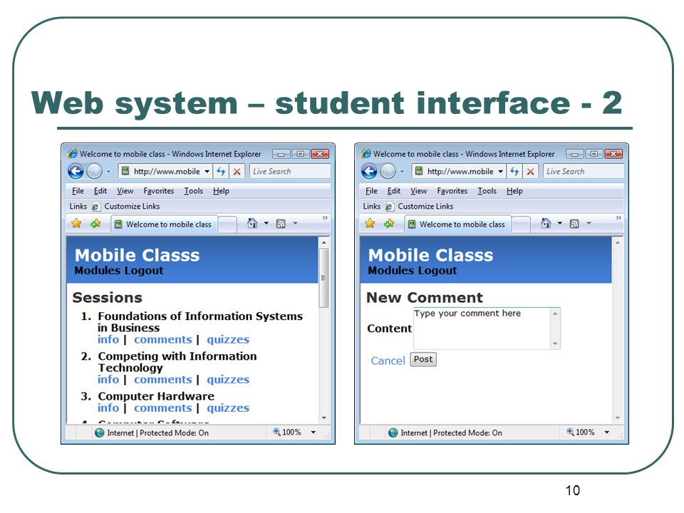 10 Web system – student interface - 2