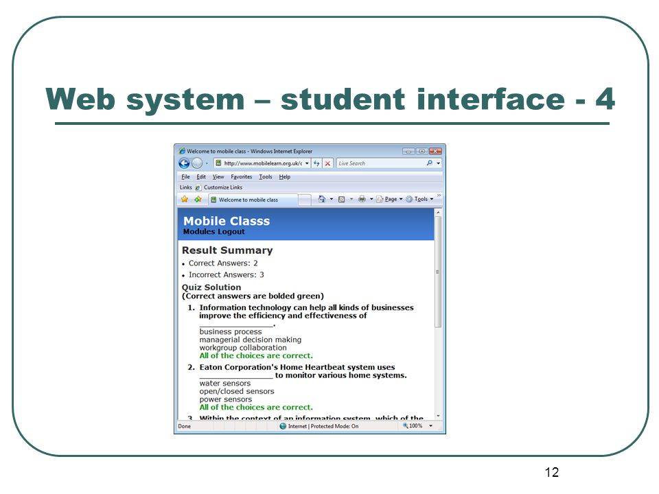 12 Web system – student interface - 4