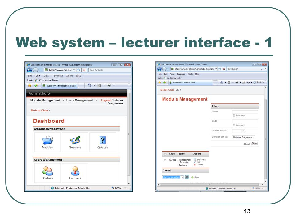 13 Web system – lecturer interface - 1