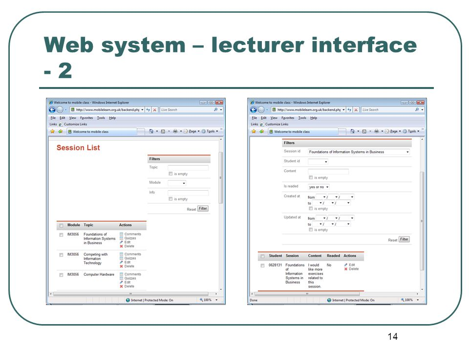 14 Web system – lecturer interface - 2