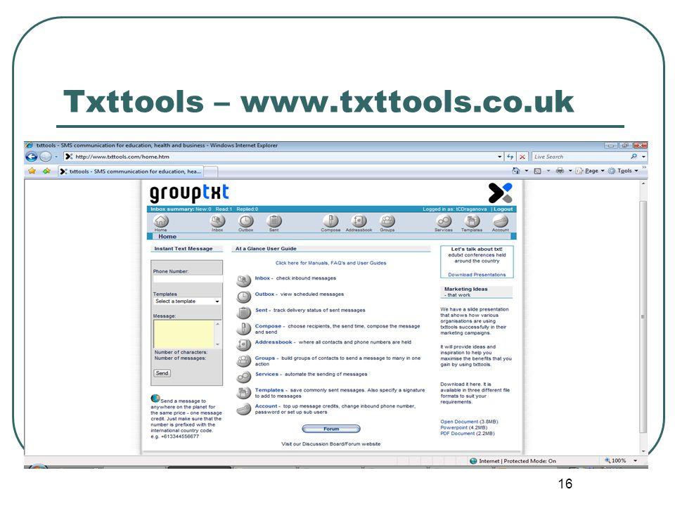 16 Txttools – www.txttools.co.uk