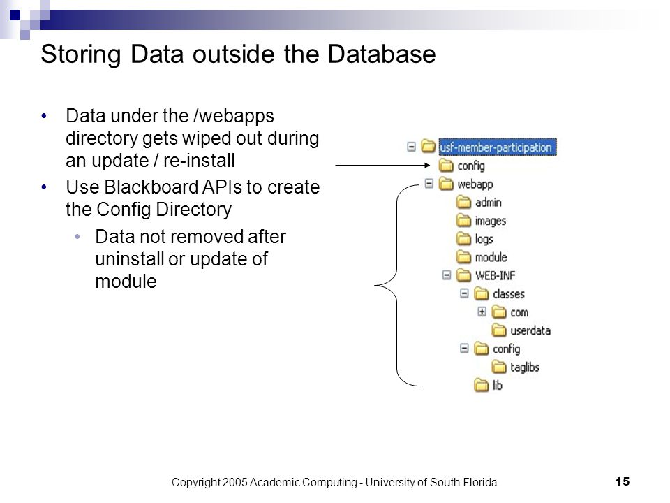 Copyright 2005 Academic Computing - University of South Florida15 Storing Data outside the Database Data under the /webapps directory gets wiped out during an update / re-install Use Blackboard APIs to create the Config Directory Data not removed after uninstall or update of module