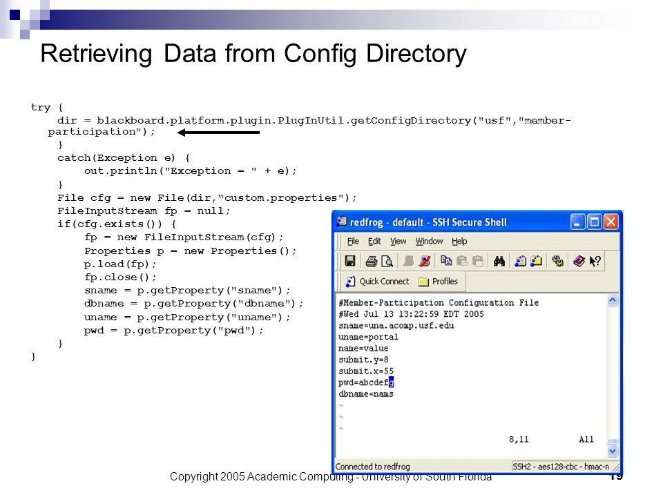 Copyright 2005 Academic Computing - University of South Florida19 Retrieving Data from Config Directory try { dir = blackboard.platform.plugin.PlugInUtil.getConfigDirectory( usf , member- participation ); } catch(Exception e) { out.println( Exception = + e); } File cfg = new File(dir, custom.properties ); FileInputStream fp = null; if(cfg.exists()) { fp = new FileInputStream(cfg); Properties p = new Properties(); p.load(fp); fp.close(); sname = p.getProperty( sname ); dbname = p.getProperty( dbname ); uname = p.getProperty( uname ); pwd = p.getProperty( pwd ); }