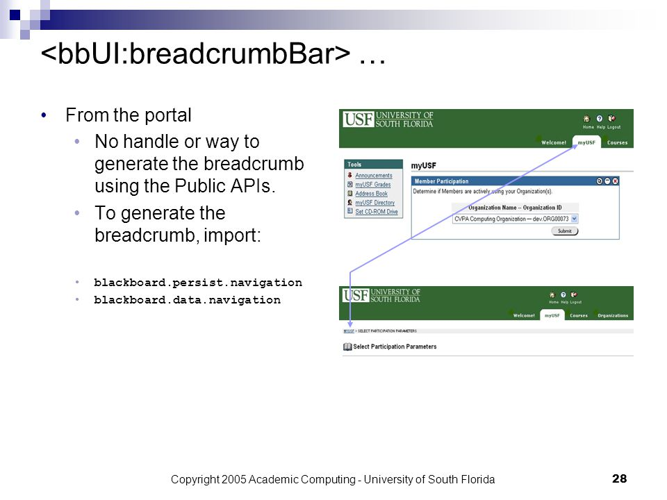 Copyright 2005 Academic Computing - University of South Florida28 … From the portal No handle or way to generate the breadcrumb using the Public APIs.