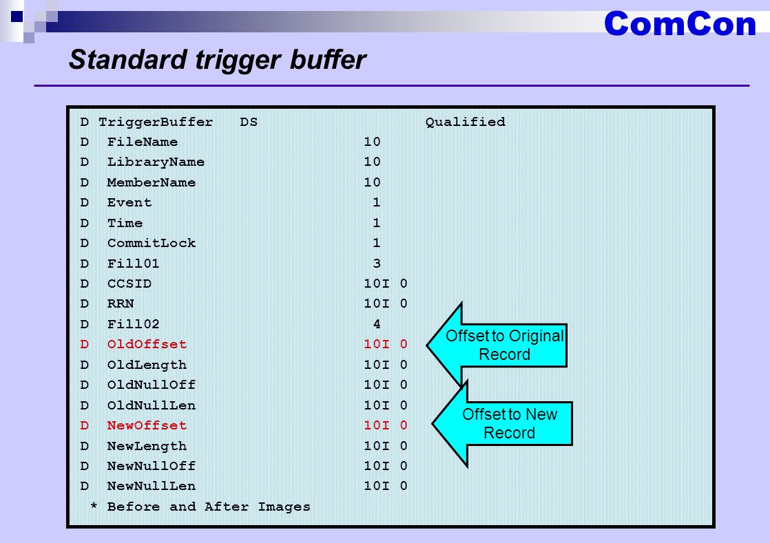 ComCon Standard trigger buffer D TriggerBuffer DS Qualified D FileName 10 D LibraryName 10 D MemberName 10 D Event 1 D Time 1 D CommitLock 1 D Fill01 3 D CCSID 10I 0 D RRN 10I 0 D Fill02 4 D OldOffset 10I 0 D OldLength 10I 0 D OldNullOff 10I 0 D OldNullLen 10I 0 D NewOffset 10I 0 D NewLength 10I 0 D NewNullOff 10I 0 D NewNullLen 10I 0 * Before and After Images Offset to New Record Offset to Original Record