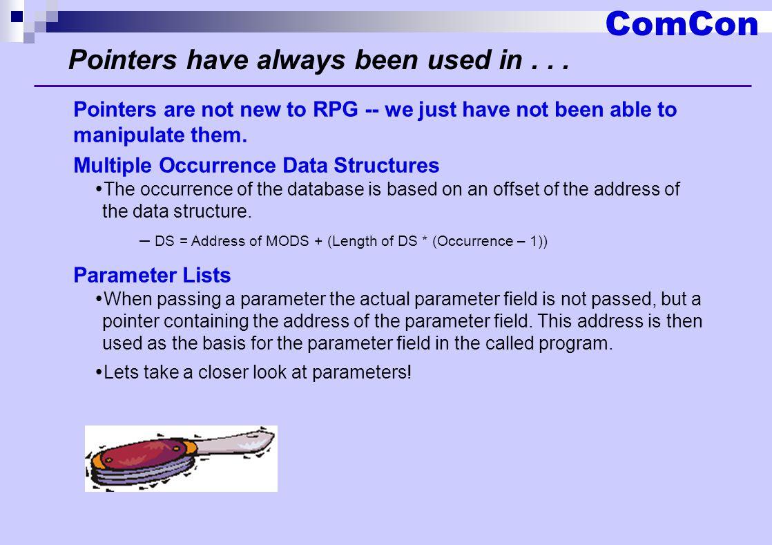 ComCon Create user space D CreateSpace PR ExtPgm( QUSCRTUS ) D UserSpaceName 20 Const D Attribute 10 Const D Size 10I 0 Const D Initial 1 Const D Authority 10 Const D Text 50 Const * Optional Parameter Group 1 D Replace 10 Const Options(*NOPASS) D ErrorCode Const Options(*NOPASS) D Like(StandardAPIError) * Optional Parameter Group 2 D Domain 10 Const Options(*NOPASS) * Optional Parameter Group 3 D TransferSize 10I 0 Const Options(*NOPASS) D OptimumAlign 1 Const Options(*NOPASS) CreateSpace(UserSpace: DTA :10000: X 00 : *ALL :Text); The QUSCRTUS API is called to create a user space